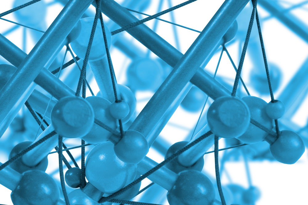Blue Web Of Particles Nanocoating